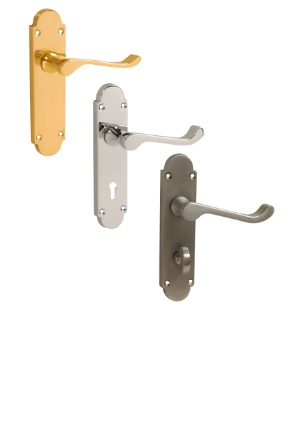 Blenheim Scroll Lever Handles | Latch Lock Bathroom Handles
