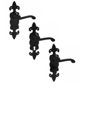 Fleur de Lys Black Door Handle Suite
