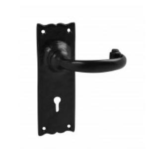 Black lever door handles | latch lock bathroom handles | Black antique | Merlin black door handles