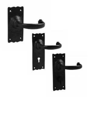 Black lever door handles | latch lock bathroom handles | Black antique | Merlin black door handles