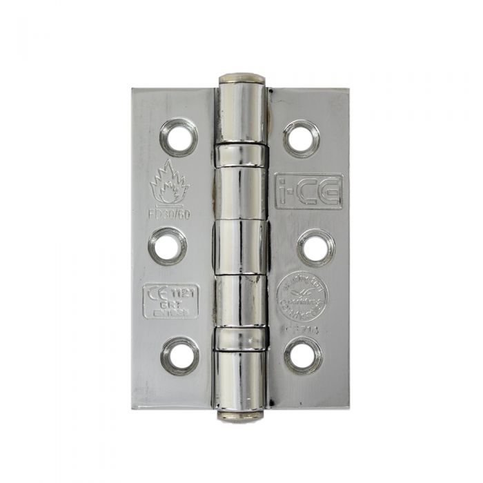Steel Ball Bearing Hinges Chrome Plated - 76mm - 1 pair with screws