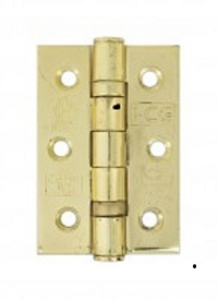 Steel Ball Bearing Hinges Brass Plated - 76mm - 1 pair with screws