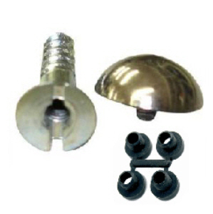 "Mirror Screws with Brass Dome 8 x 1"" and Protective Washers - Project Pack 4"