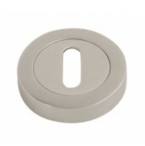 Escutcheon Keyhole Lever on Round Rose - Satin Chrome