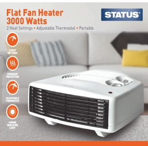 Flat Fan Heater 3000w White - 2 Heat Settings - Adjustable Thermostat