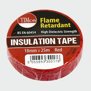 19mm x 25m Red electrical insulating tape