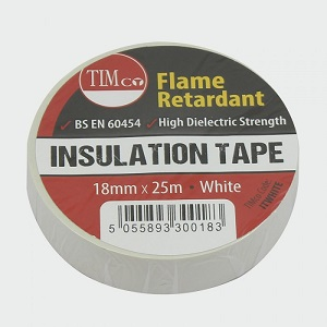 19mm x 25m White electrical insulating tape