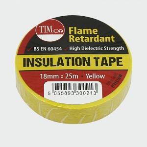19mm x 25m Yellow electrical insulating tape