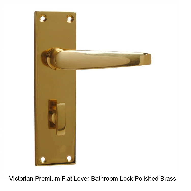 Victorian Premium Flat Lever Bathroom Handle - Polished Brass