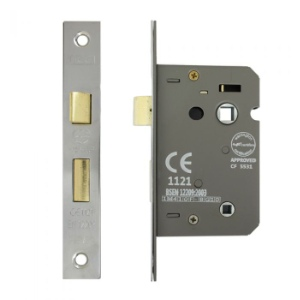 Mortice Bathroom Lock 3 Lever 63mm, Nickel Plated