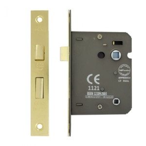 Mortice Bathroom Lock 3 Lever 75mm, Brass Plated