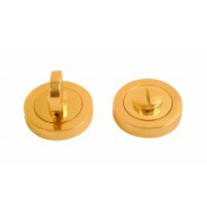 Bathroom Turn Escutcheon Lever on Round Rose - Polished Brass