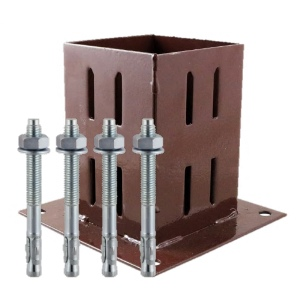 Timco Fence Post Support Quick Fit Shoe 75mm Red Oxide with FREE fixing kit