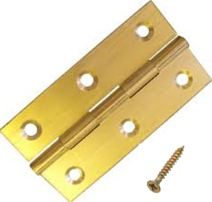 "Solid Brass Butt Hinges 38mm (1-1/2"") - Bag 1 pair with screws"