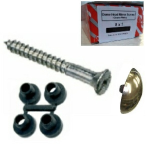 "Mirror Screws with Brass Dome 8 x 1"" and Protective Washers - Trade Pack 100"
