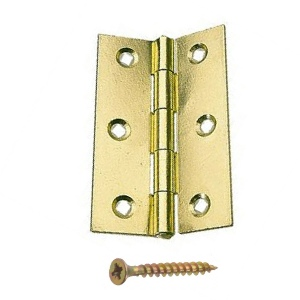 Steel Butt Hinges 63mm Brass Plated - 1 pair with screws