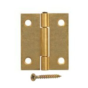 Steel Butt Hinges 40mm Brass Plated - 1 pair with screws