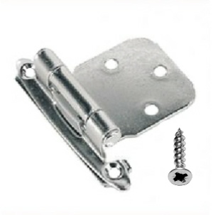 Amerock Style Cabinet Hinges, Self Closing, Chrome Plated - Bag 1 pair with screws