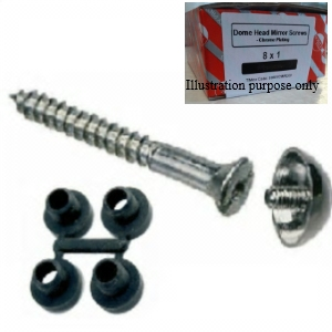 "Mirror Screws with Chrome Dome 8 x 3/4"" and Protective Washers - Bag 100"