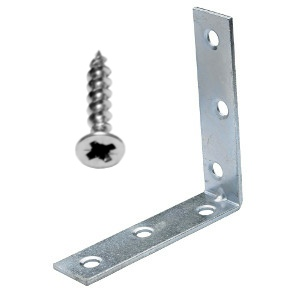Corner Braces 75mm Zinc Plated & Screws - Pack 10