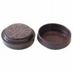 Castor Cups with Felt Protector Pads Brown Small 53mm - Pack 4