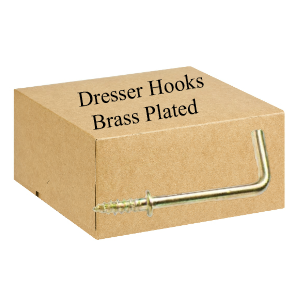 25mm L Shaped Dresser Hooks Brass Plated - Trade Pack of 100
