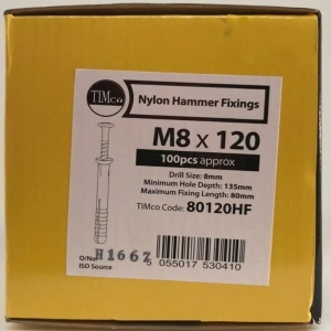 Hammer Fixings M8 x 100 - Box 100