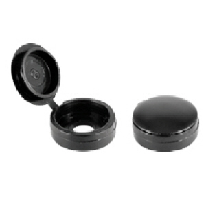 100 x Hinged Screw Cup Washers & Covers. Black