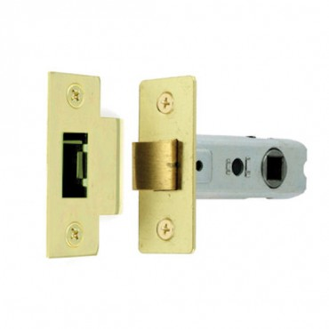 63mm Brass Plated Mortice Latch with Bolt Through Body