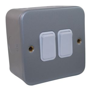 Metalclad Plate Switch 2 Gang 2 Way