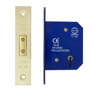 Mortice Dead Lock 5 Lever 63mm, Brass Plated