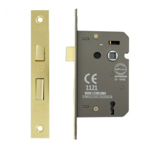 Mortice Lock 3 Lever 63mm, Brass Plated