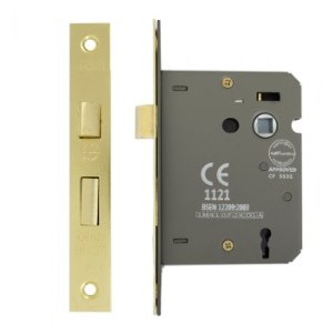 Mortice Lock 3 Lever 75mm, Brass Plated