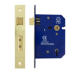 Mortice Lock 5 Lever 75mm, Brass Plated