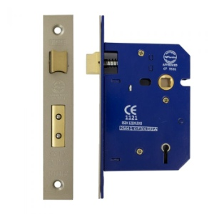 Mortice Lock 5 Lever 75mm, Satin Nickel Plated