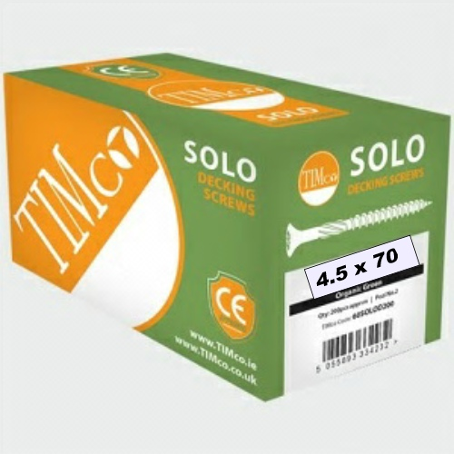 M4.5 x 70 Solo Softwood Decking Screws, Double Countersunk, Cross Recess, CE Marked - Box 200