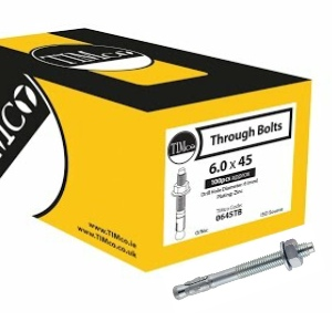 Throughbolt Grade 5.8 Zinc plated M8 x 80 - Box 50