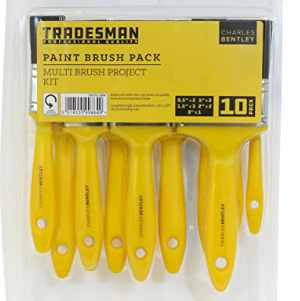 10 Assorted Tradesman Paint Brushes Yellow Handle