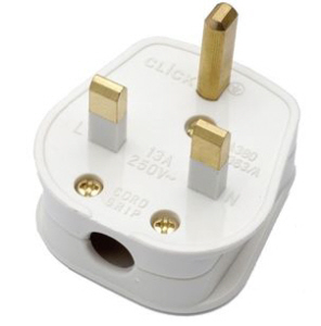 Plug Tops 13amp - White, Black & Rubber