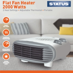 Status Flat Fan Heater 2000w White - 2 Heat Settings - Adjustable Thermostat