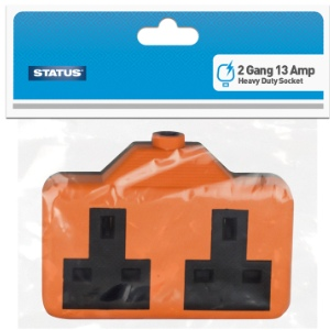 Status Rewireable Trailing Socket Heavy Duty Rubber 13amp - 2 Gang
