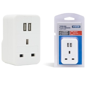 Status Twin USB Plug Through Adaptor - White