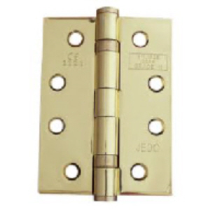 G11102BP - 2 x 102 x 76 x 2.7mm Twin Ball Bearing Hinges Brass Plated 1 hour fire tested and Screws