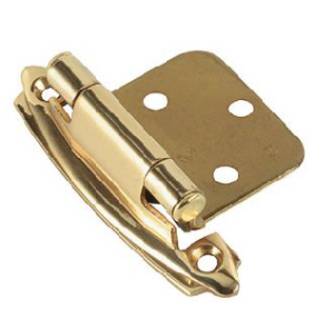 BC050 - 2 x Cabinet Hinges, Self Closing, Brass Plated  with screws