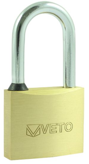 P50L - 50mm Veto Long Shackle Brass Padlock with 3 keys