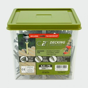 50C2D250 - 250 x M4.5 x 50 TIMco C2 Timber Decking Screws, Double Countersunk, Torx T20, Organic Green, CE appr