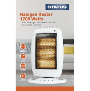 Oscillating Halogen Heater 1200w White - 3 Heat Settings