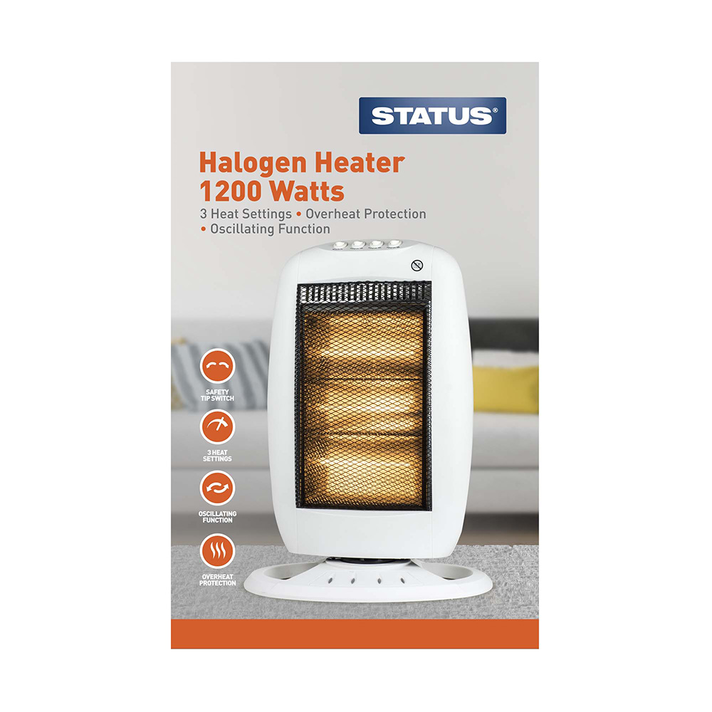 HH-1200W - Oscillating Halogen Heater 1200w White - 3 Heat Settings