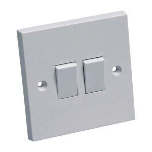 Powermaster Light Switch White - 2 Gang - 2 Way - 10amp