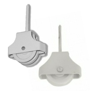 Screw-in Pulley Single & Twin Wheel 45mm White